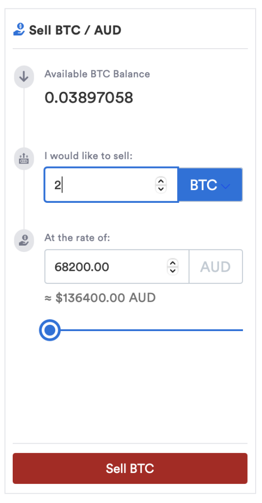 Selling bitcoin using the markets feature on CoinSpot